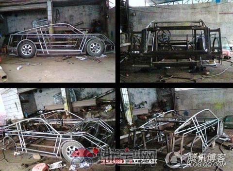自己精心制作的山寨版博基尼跑车,以及制作过程,获得许多网友高清图片